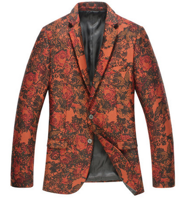 chic mens red floral blazer with double buttons