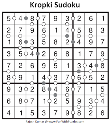 Kropki Sudoku (Daily Sudoku League #127) Solution