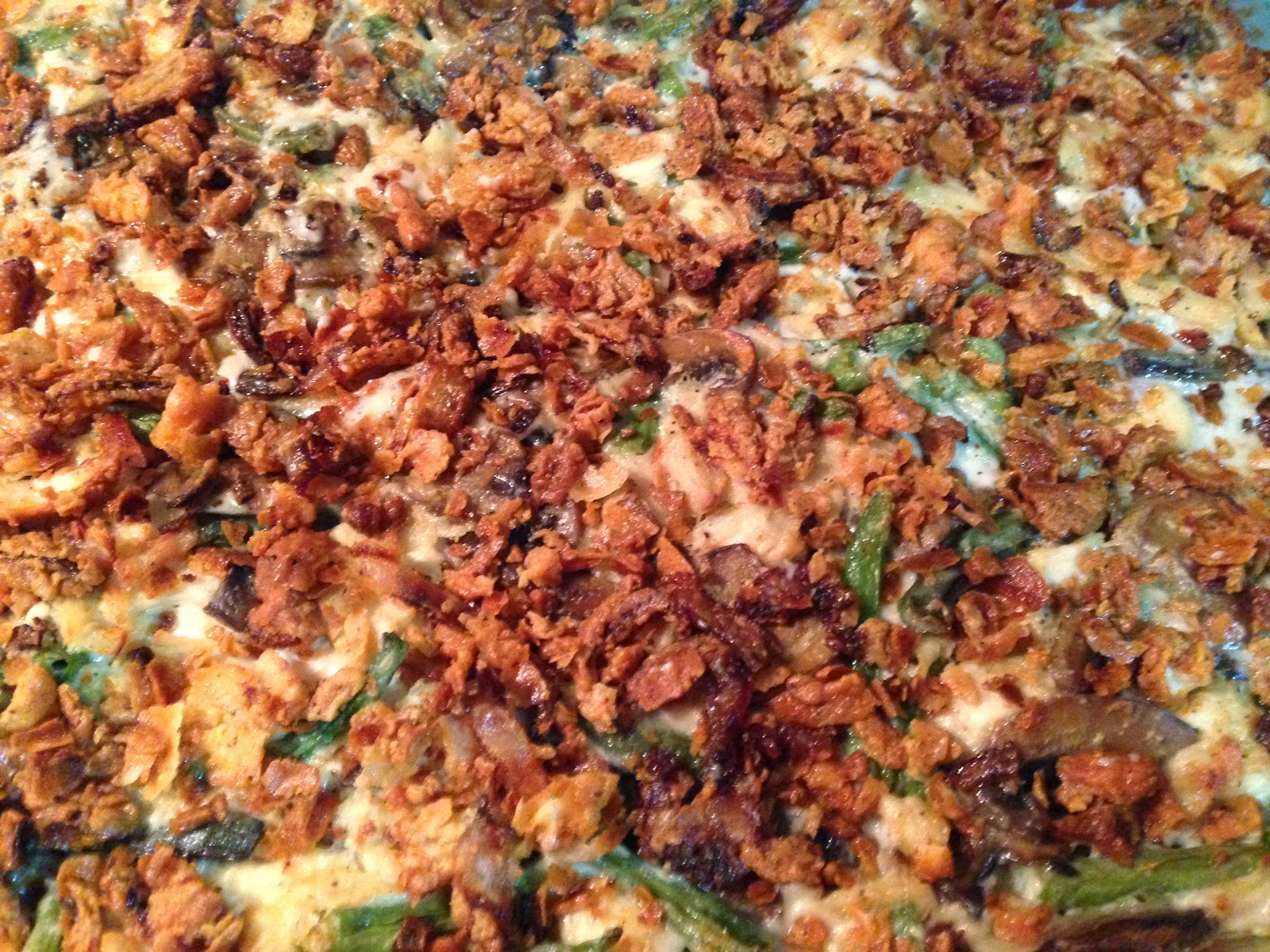 chicken and green bean casserole with fried shallots chicken and green ...