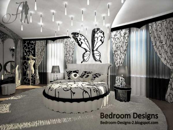 black and white master bedroom design with round bed