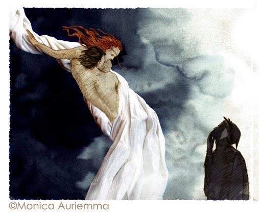 """Illustrazione. Paolo e Francesca. Monica Auriemma.""""Leggo perchè..."""" Mondadori Education"""