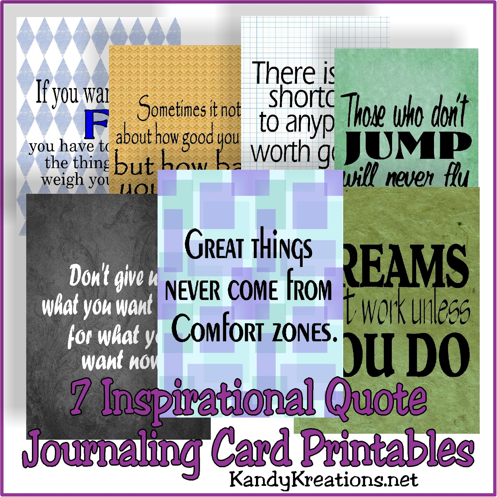 7 inspirational quote journaling card free printables