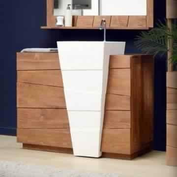 Meuble salle de bain bois 2 vasques meuble d coration maison for Meuble salle de bain bois 1 vasque