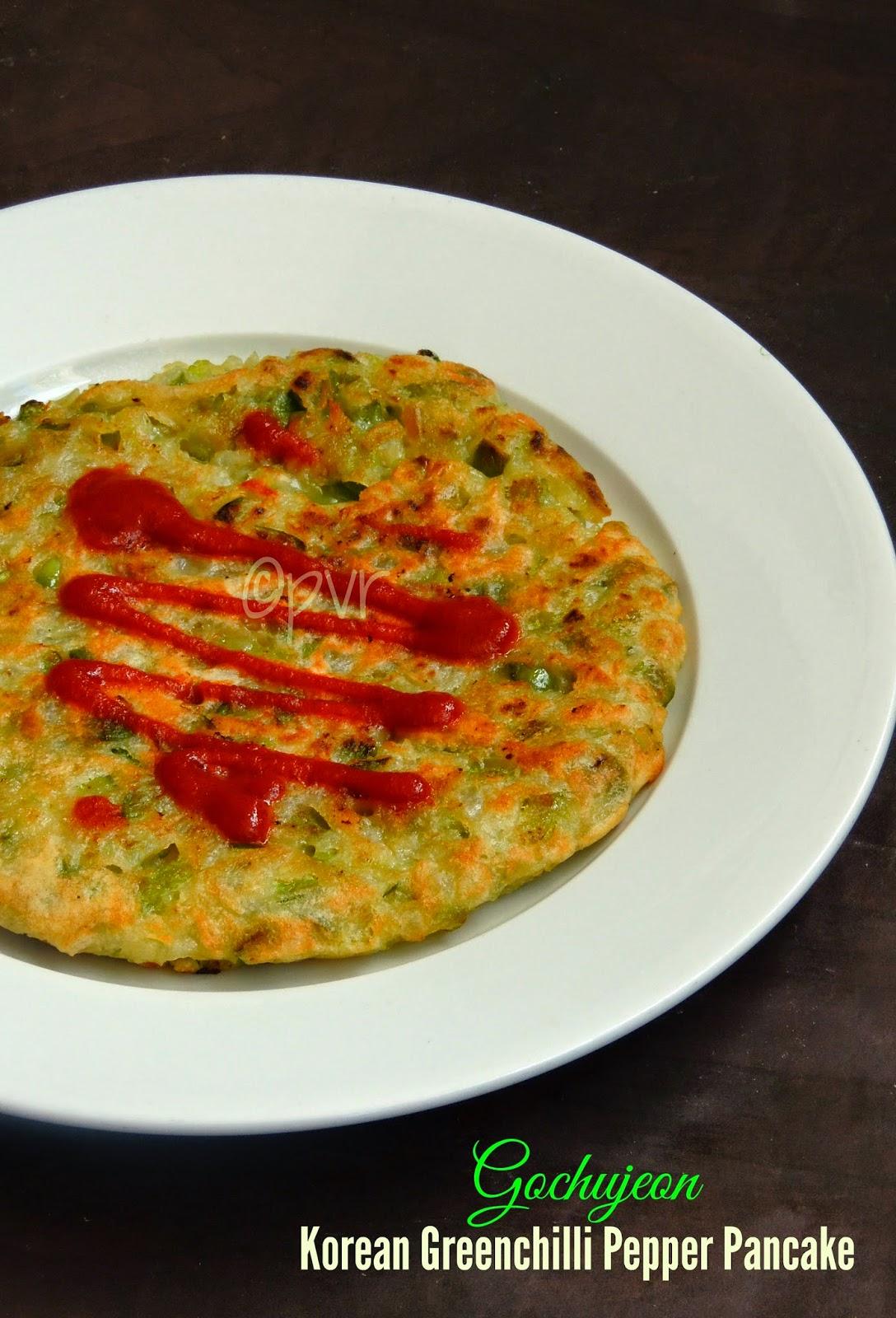 Korean Green chilli pepper pancake, Gochujeon,Eggless korean pancake