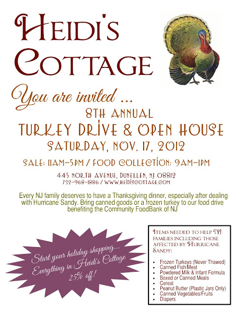 thanksgiving food drive. donate turkeys to the community foodbank of new jersey at Heidi's Cottage, Dunellen NJ