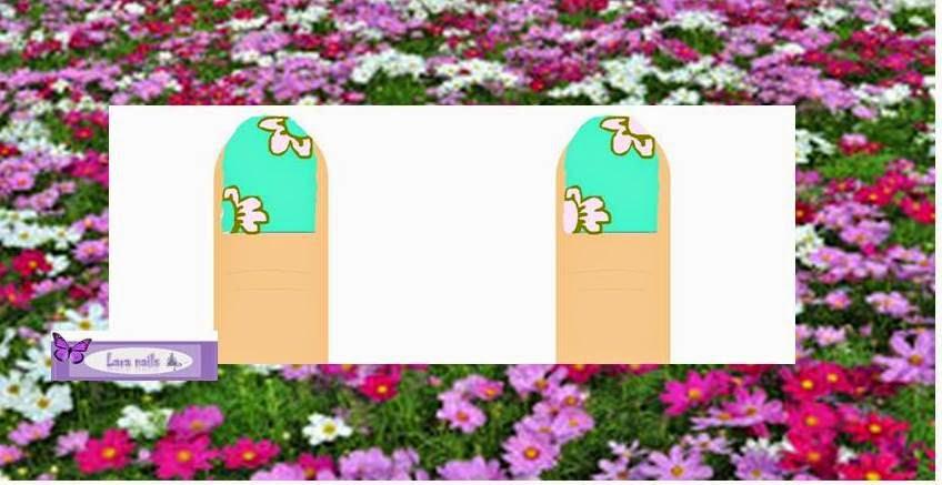 Uñas flores rosa y azul lara nails paso a paso