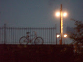 Lone bicycle in twilight.