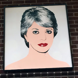 Andy Warhol's portrait of Cindy Pritzker hangs in Cindy's Rooftop.