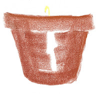 Pastel drawing of flower pot with pale seedling.