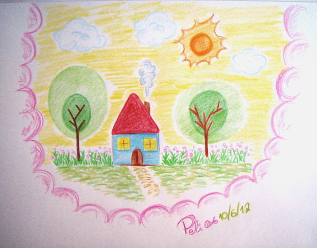 coloured pencil drawing farm house