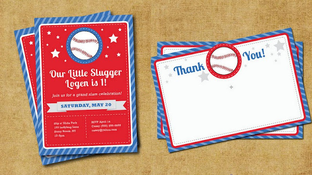 Get The Party Started baseball invites and thank yous