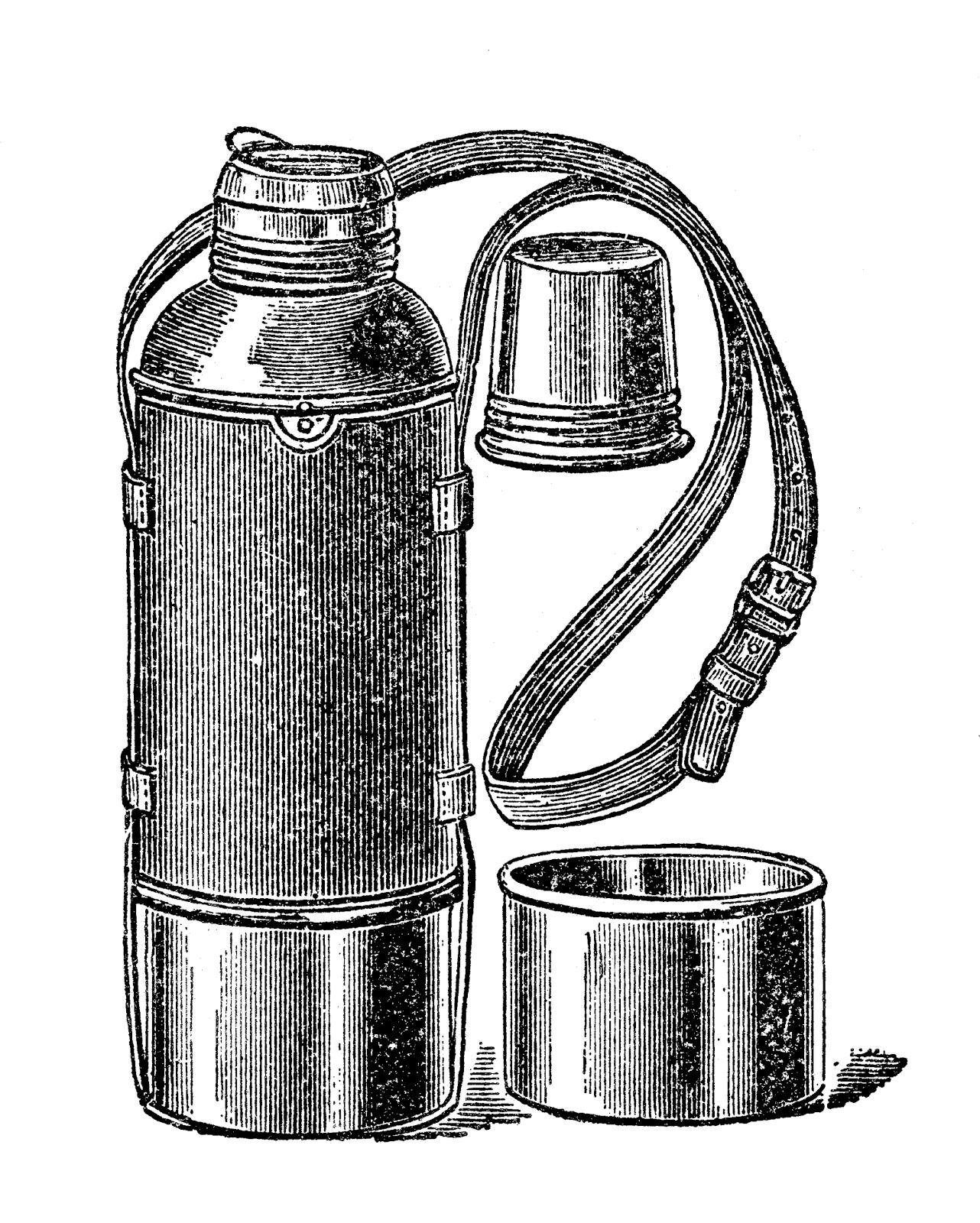 Vintage vacuum flask termos free clip art