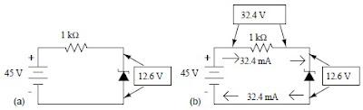 Regulator dioda zener dengan resistor 1 kΩ. (b) Menghitung tegangan dan arus
