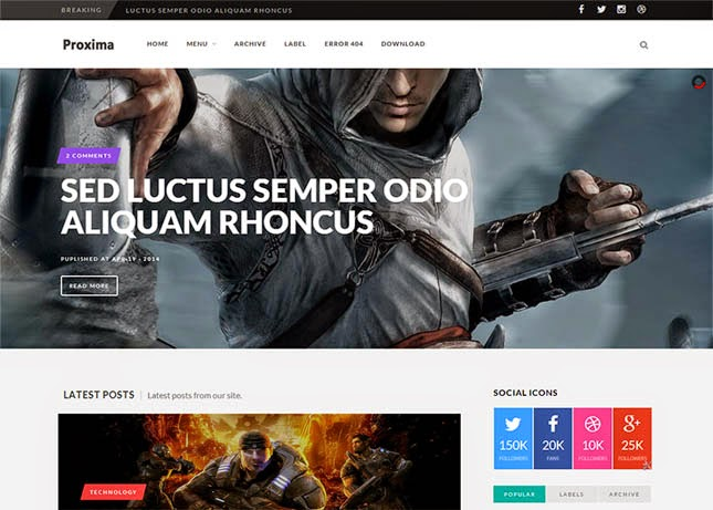 Proxima Game Responsive Blogger Template
