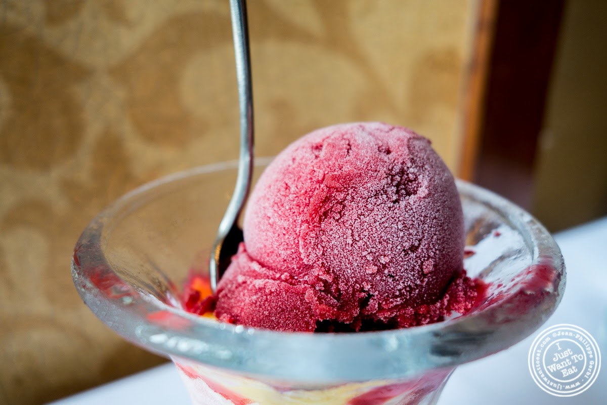 image of raspberry and passion fruit sorbet at Porterhouse in New York, NY