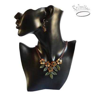 Złote kwiaty – naszyjnik i kolczyki