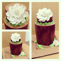Double barrel cake with Pearly giant Rose