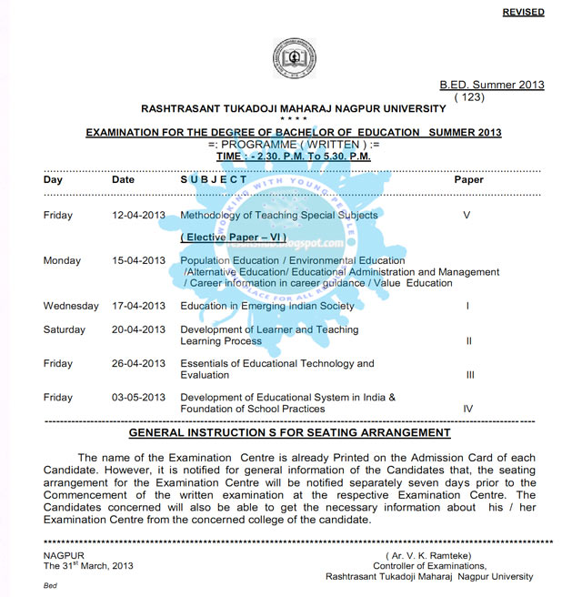 B.Ed. Revised New Timetable Nagpur University Summer 2013