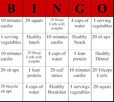 Exercise Bingo, Exercise, fun exercise, creative exercise, Bingo