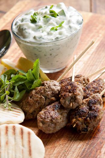 LEBANESE RECIPES: Lamb Kofta with Herbed Tzatziki Recipe