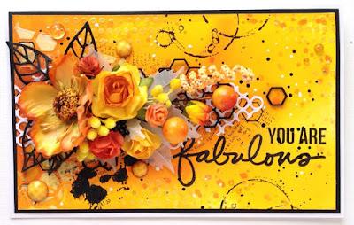Mixed media, открытка, осенняя, штампы Ali Edwards Incredible