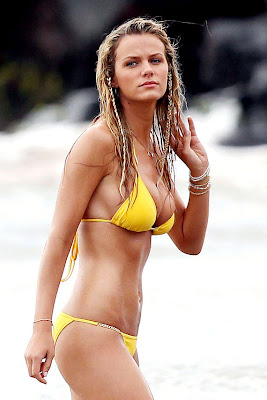Brooklyn Decker Yellow Bikini In Maui Beach