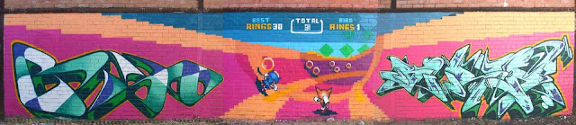 sonic bonus stage painted on a wall