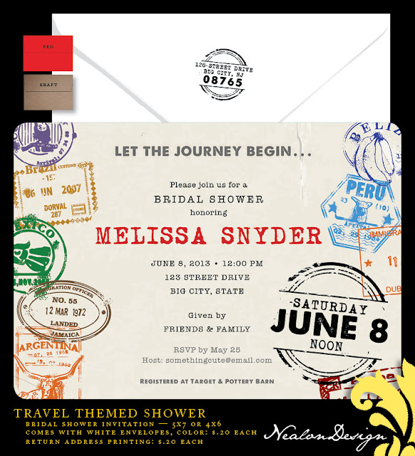 Travel Themed Bridal Shower Invitations