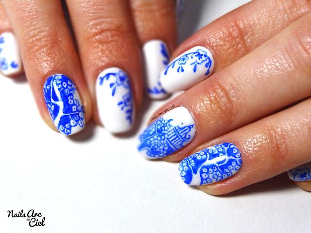 Nail art - Porcelaine Asiatique + mini concours par Nails Arc en Ciel