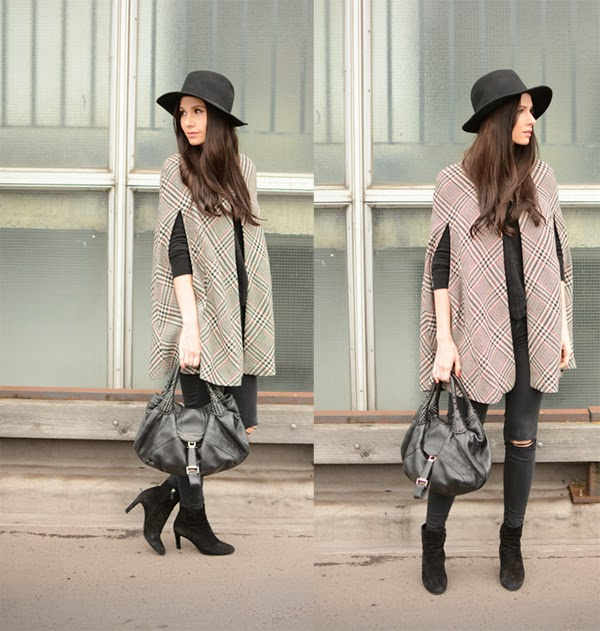 Outfit Cape Fedora Hat Modeblog Fashion Blog