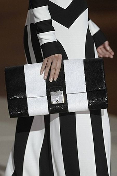runway details: black and white stripes by Marc Jacobs F/W 2013