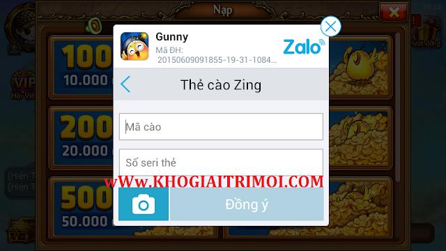 Hướng dẫn nạp XU trong game Gunny Mobi