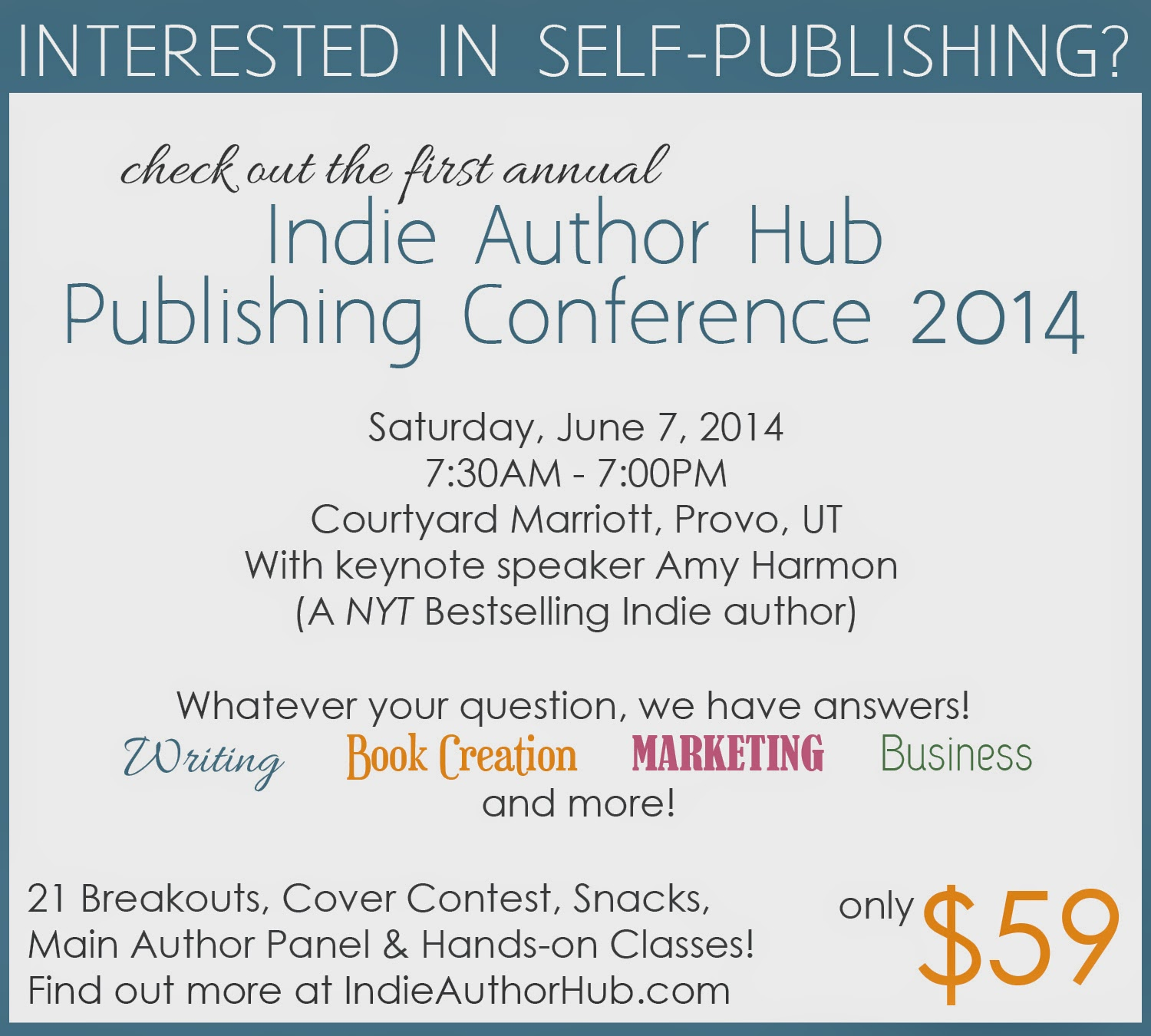 http://www.indieauthorhub.com/2014/01/2014-publishing-conference-class-details.html