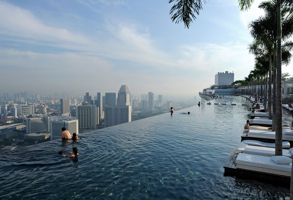 World visits things to do in marina bay sands resorts in - Rooftop swimming pool in singapore ...