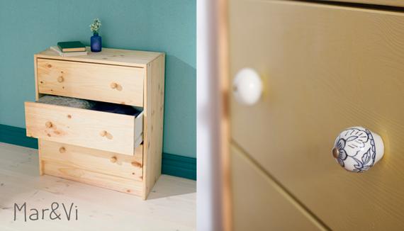 Ikea hacks: Cómoda Rast con tiradores de cerámica