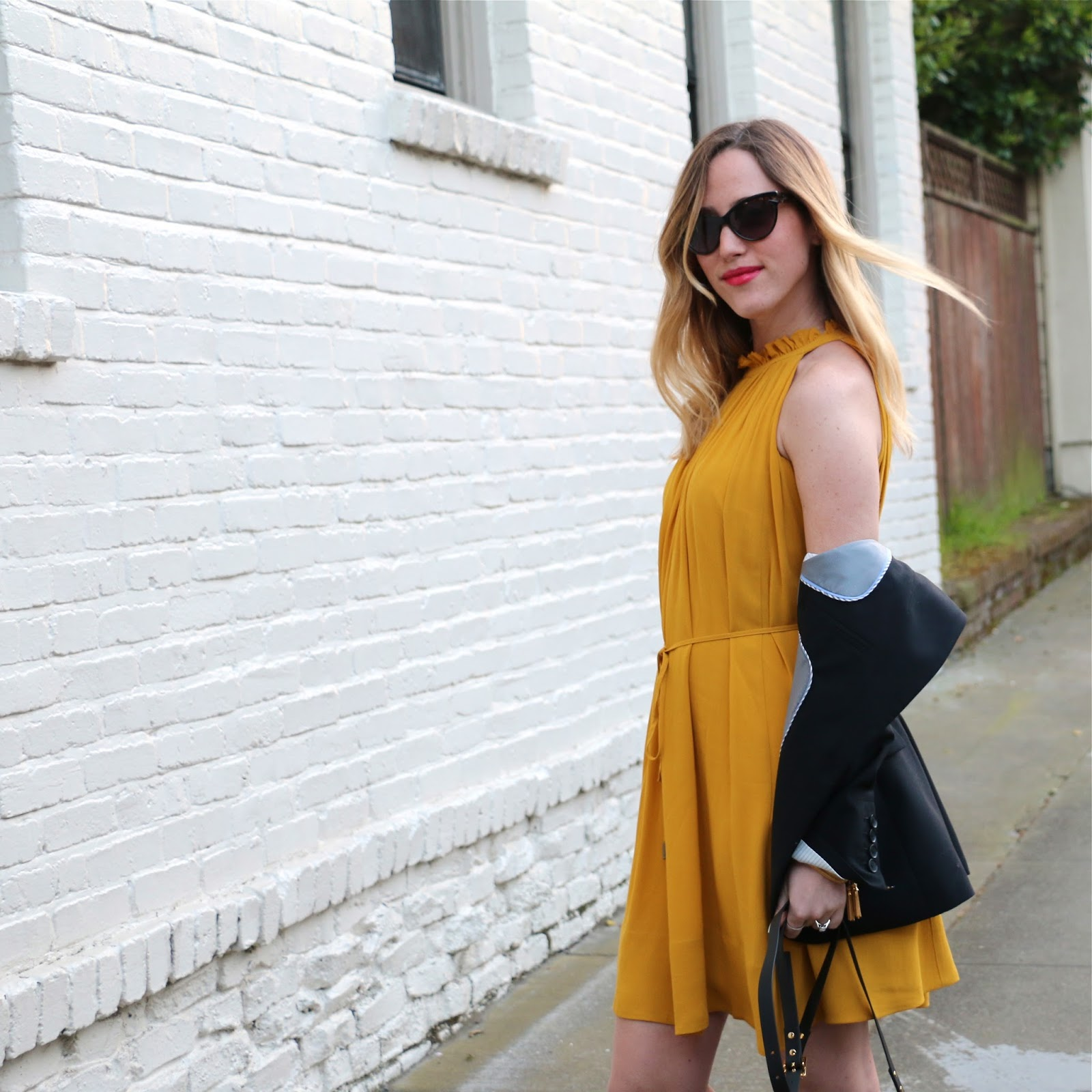 mustard yellow banana republic dress