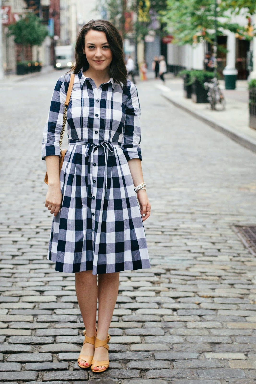 College prep gingham shirtdress for Blue dress shirt outfit