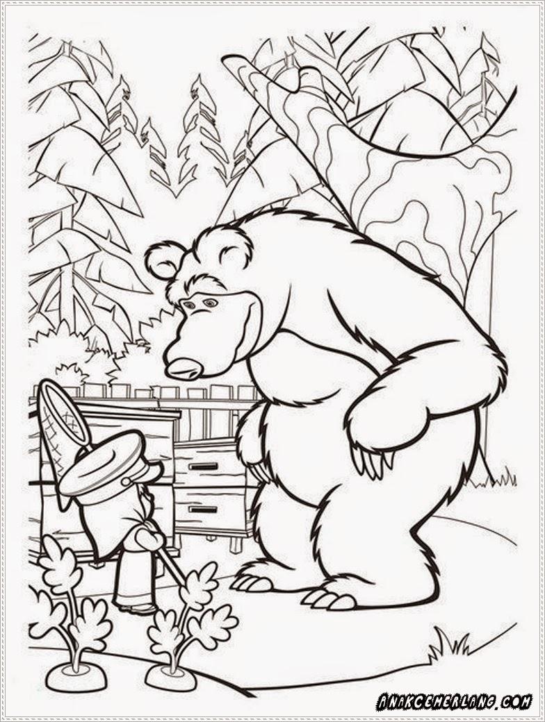 kartun gambar masha dan beruang untuk mewarnai
