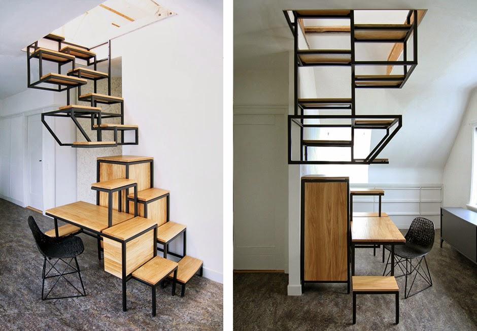 Una escalera suspendida del techo con espacios de almacenamiento integrados espacios en madera - Escalera de techo ...