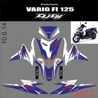 Sticker striping motor Honda Vario FI Click Biru