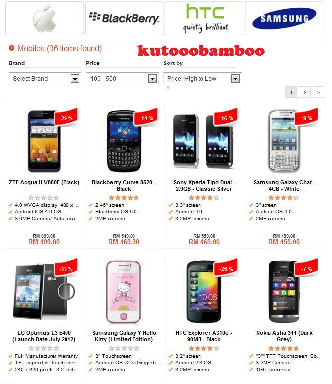 Senarai Smartphone RM500 dan lebihRM500