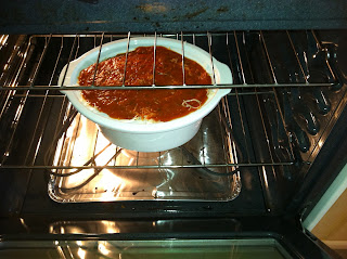 photo of pizza spaghetti in the oven