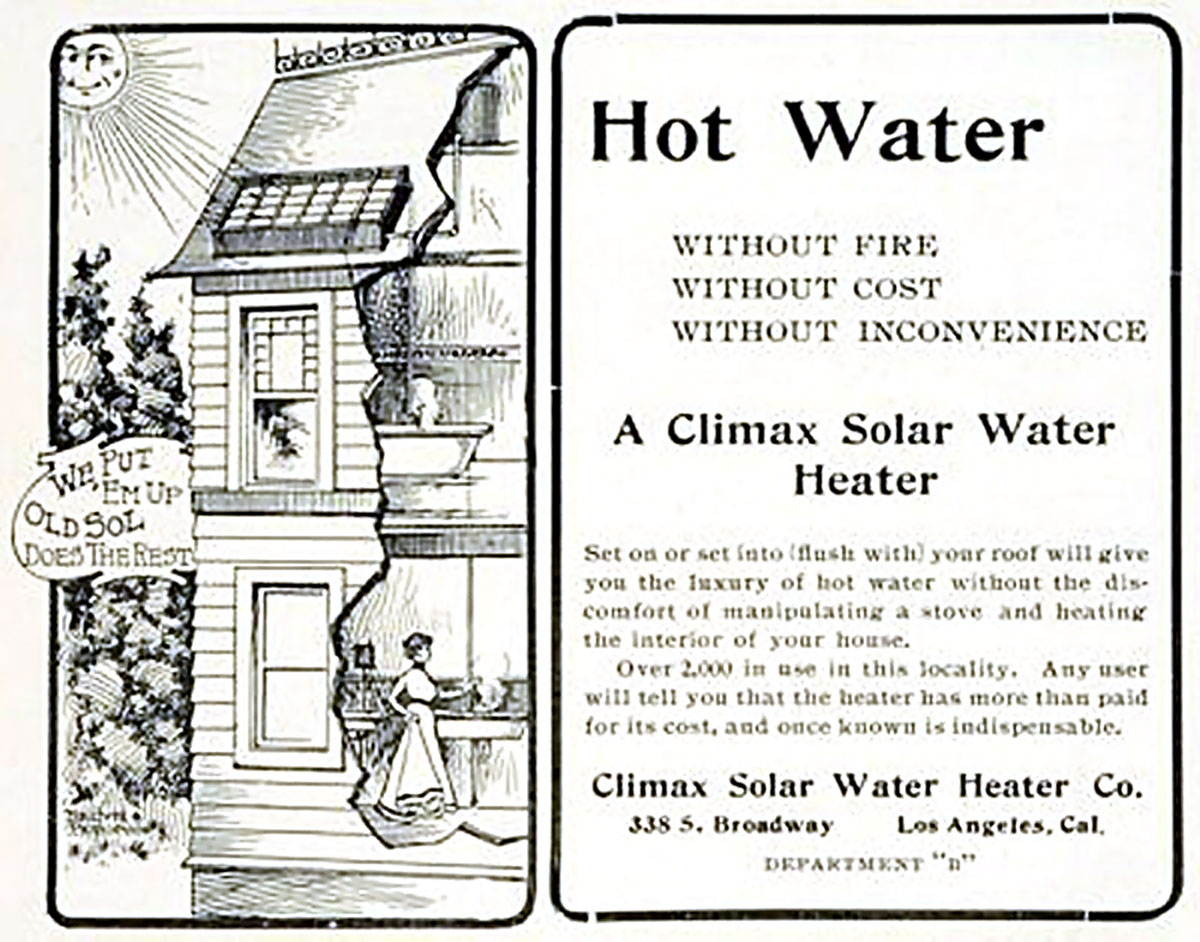 Climax Solar Water Heater Ad Circa 1890