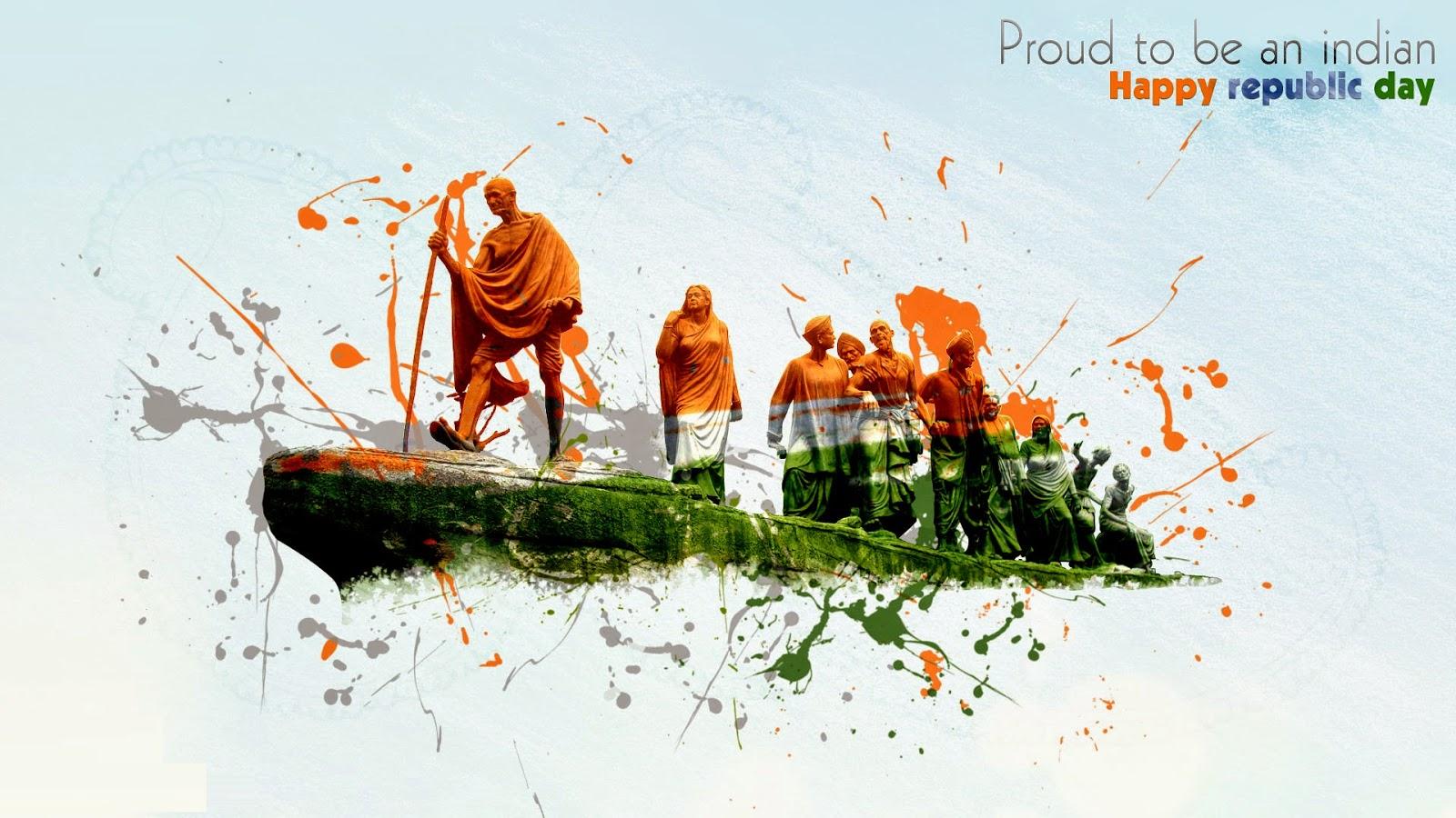 Gandhiji Happy Republic Day Wallpaper