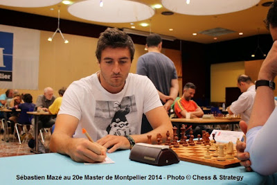 Le GMI Sébastien Mazé (2553) a remporté son duel face à Eric Prié (2493) lors de la ronde 7 du Master d'échecs de Montpellier 2014. Il affrontera le grand-maître espagnol de 38 ans, Julen Luis Arizmendi Martinez pour le compte de la ronde 8 - Photo © Chess & Strategy