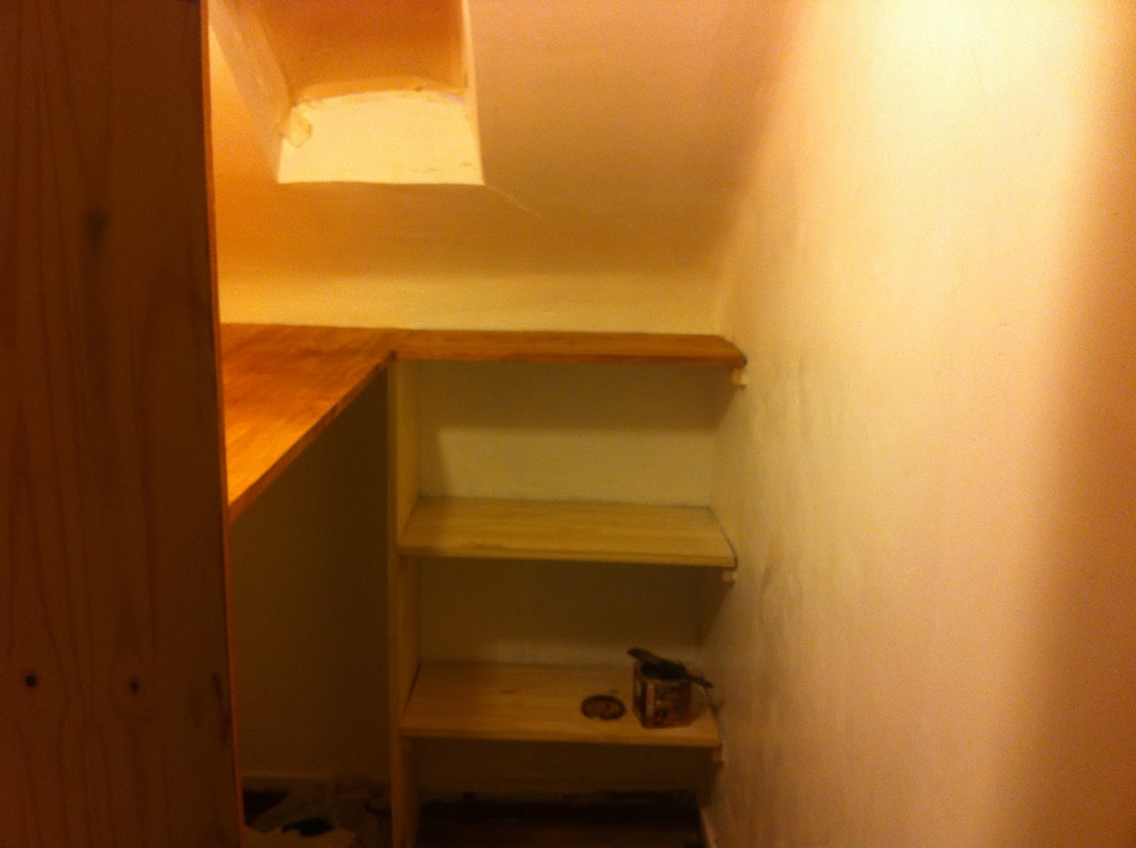 How To Stain New Wood In A Walk In Wardrobe. Full resolution‎  photo, nominally Width 1600 Height 1195 pixels, photo with #B74C01.