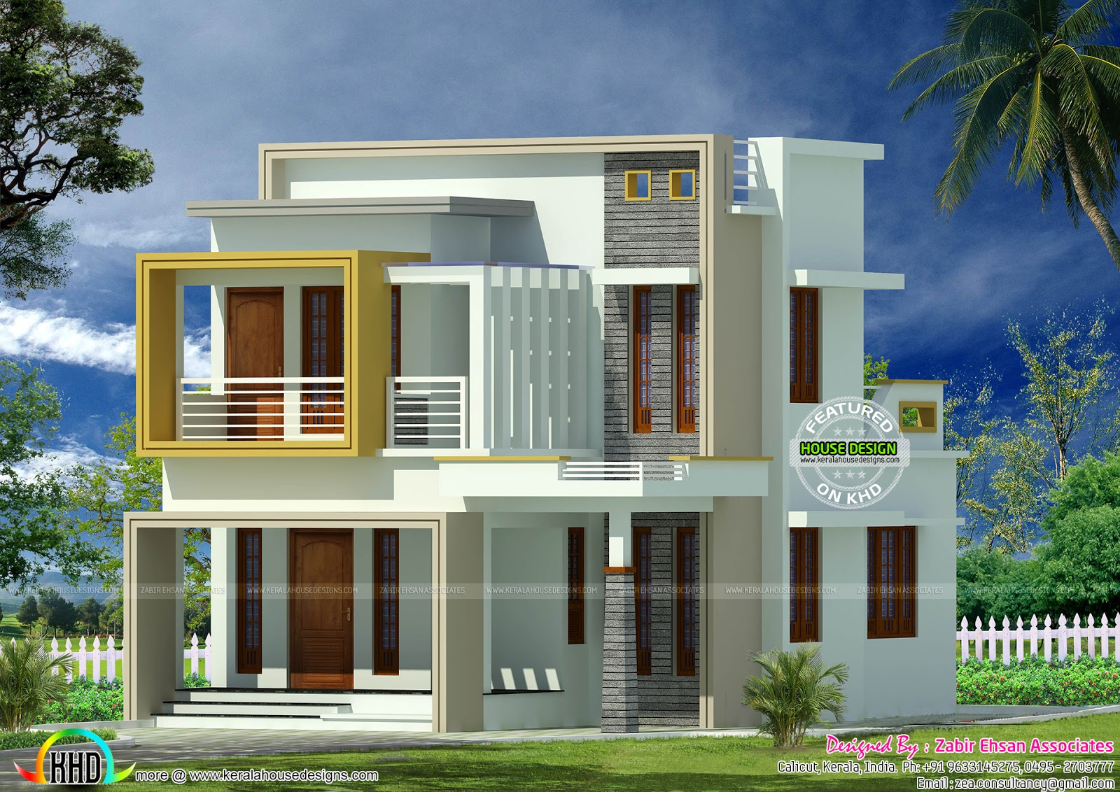 Small plot double storied contemporary home kerala home for Home plot plan