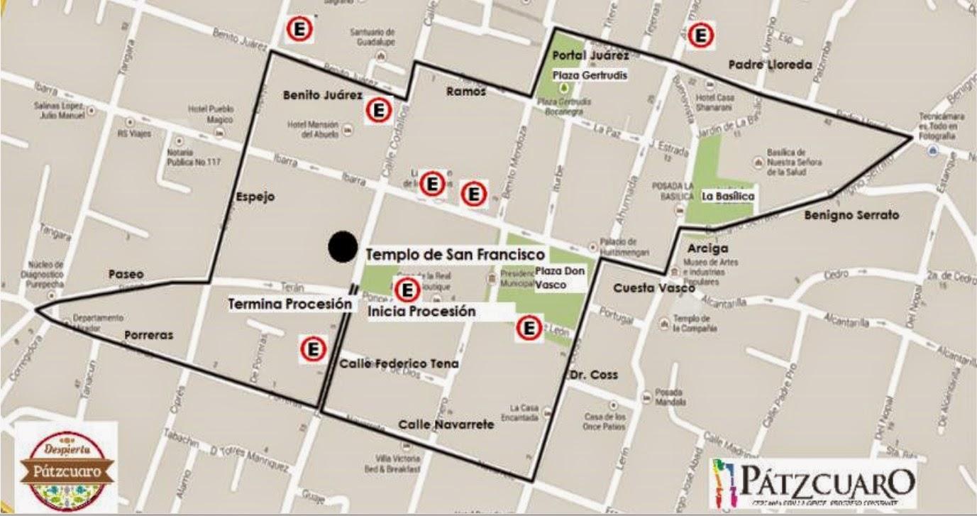 Mapa de la Procesión del Silencio en Pátzcuaro