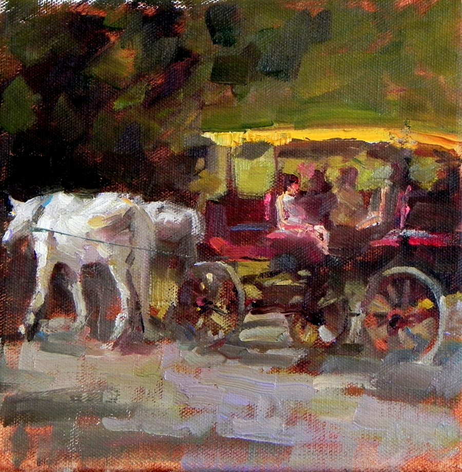 Horse Carriage Painting Horse Drawn Carriage Demo