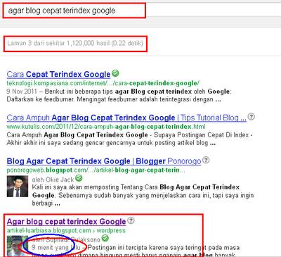 Agar blog cepat terindex Google